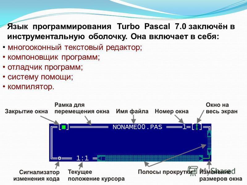 Язык программирования Turbo Pascal 7.0 заключён в инструментальную оболочку. Она включает в себя: многооконный текстовый редактор; компоновщик программ; отладчик программ; систему помощи; компилятор.