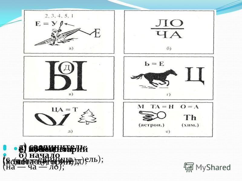 а) Условие (весло и е); б) начало (начало); в) вывод (в ы в о д); г) конец (конь ц); д) соединитель (с о единица ель); е) комментарий (комета торий).