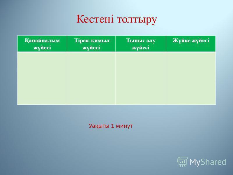 Кестені толтыру Қанайналым жүйесі Тірек-қимыл жүйесі Тыныс алу жүйесі Жүйке жүйесі Уақыты 1 минут