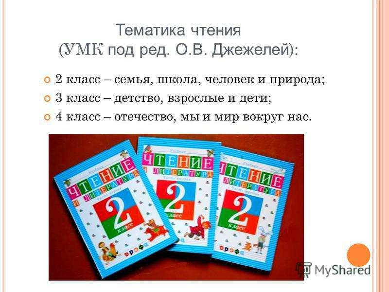 Тематика чтения (УМК под ред. О.В. Джежелей ): 2 класс – семья, школа, человек и природа; 3 класс – детство, взрослые и дети; 4 класс – отечество, мы и мир вокруг нас.