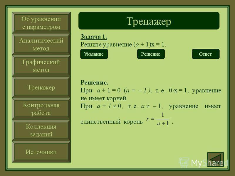 Об уравнении с параметром Аналитический метод Графический метод Тренажер Контрольная работа Коллекция заданий Источники Тренажер Задача 1. Решите уравнение (а + 1)х = 1. Ответ Указание. Рассмотрите случаи, когда параметр а = – 1 и а – 1. Решение Указ