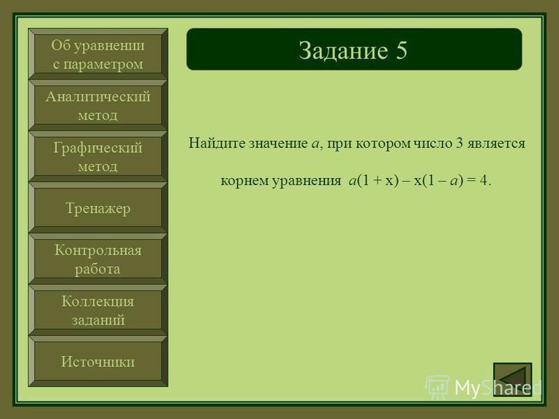 Об уравнении с параметром Аналитический метод Графический метод Тренажер Контрольная работа Коллекция заданий Источники Задание 4 При каком значении параметра а уравнение ах – 5(1 + х) = 3 не имеет корней.