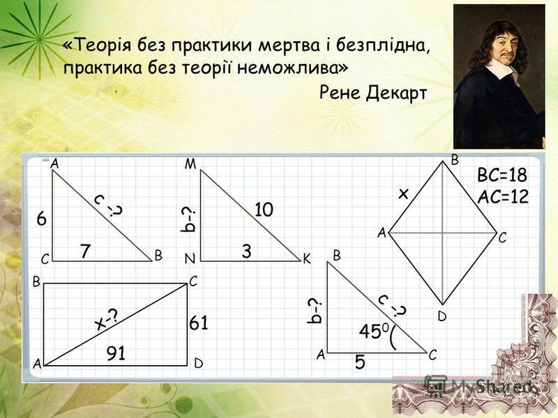 «Теорія без практики мертва і безплідна, практика без теорії неможлива» Рене Декарт AC=12 x BC=18 c -? 7 6 B C A 91 61 x-? A BC D b-? 3 10 N M K 5 b-? c -? 45 0 B A C A D C B