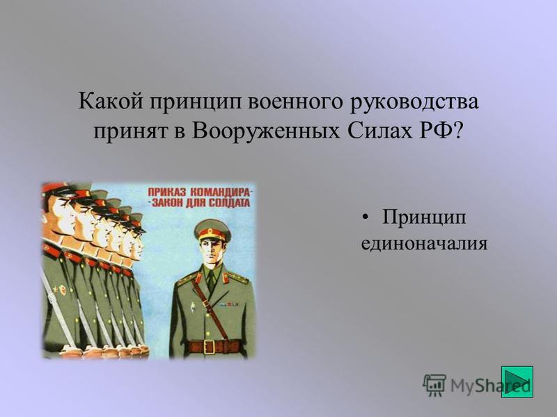 Какой принцип военного руководства принят в Вооруженных Силах РФ? Принцип единоначалия