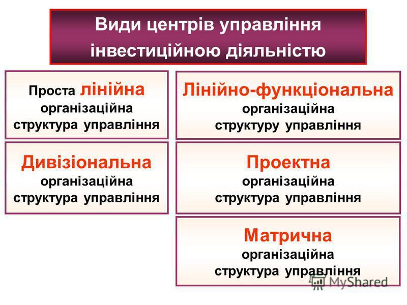 Види центрів управління інвестиційною діяльністю Проста лінійна організаційна структура управління Лінійно-функціональна організаційна структуру управління Дивізіональна організаційна структура управління Проектна організаційна структура управління М