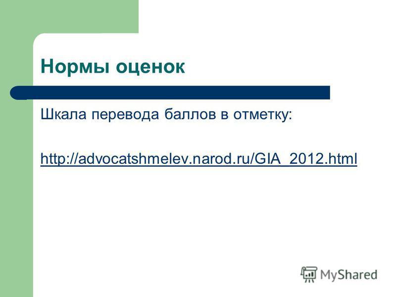 Нормы оценок Шкала перевода баллов в отметку: http://advocatshmelev.narod.ru/GIA_2012.html