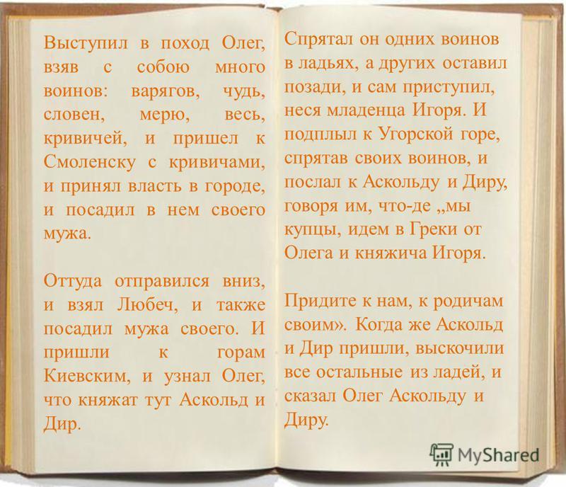 Выступил в поход Олег, взяв с собою много воинов: варягов, чудь, словен, мерю, весь, кривичей, и пришел к Смоленску с кривичами, и принял власть в городе, и посадил в нем своего мужа. Оттуда отправился вниз, и взял Любеч, и также посадил мужа своего.