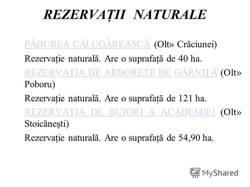 REZERVAŢII NATURALE PĂDUREA CĂLUGĂREASCĂPĂDUREA CĂLUGĂREASCĂ (Olt» Crăciunei) Rezervaţie naturală. Are o suprafaţă de 40 ha. REZERVAŢIA DE ARBORETE DE GÂRNIŢĂREZERVAŢIA DE ARBORETE DE GÂRNIŢĂ (Olt» Poboru) Rezervaţie naturală. Are o suprafaţă de 121