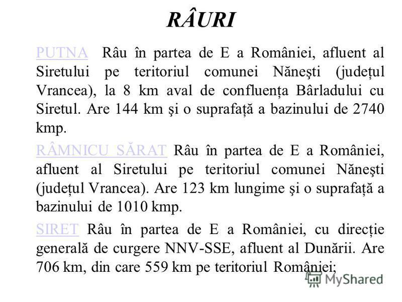 RÂURI PUTNAPUTNA Râu în partea de E a României, afluent al Siretului pe teritoriul comunei Năneşti (judeţul Vrancea), la 8 km aval de confluenţa Bârladului cu Siretul. Are 144 km şi o suprafaţă a bazinului de 2740 kmp. RÂMNICU SĂRATRÂMNICU SĂRAT Râu