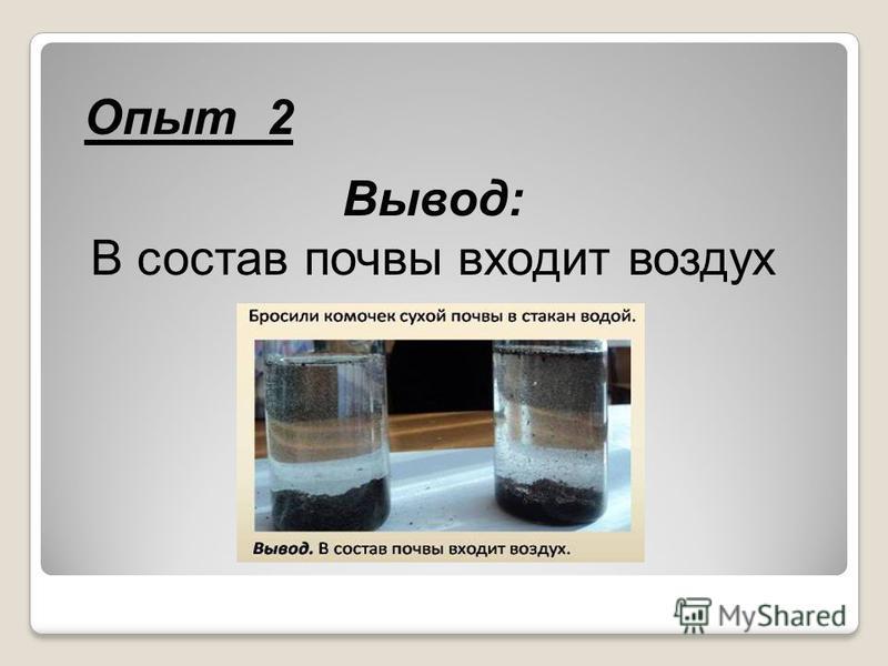 Опыт 2 Вывод: В состав почвы входит воздух