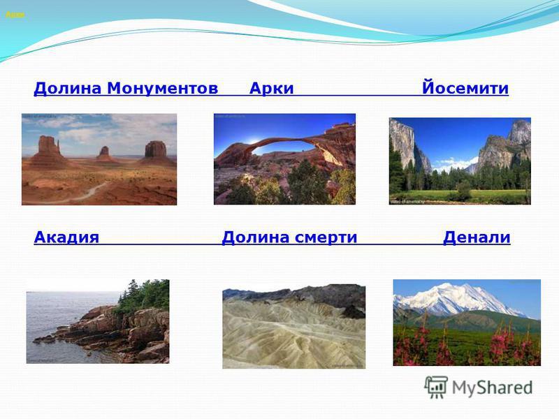 Арки Долина Монументов Арки Йосемити Акадия Долина смерти Денали