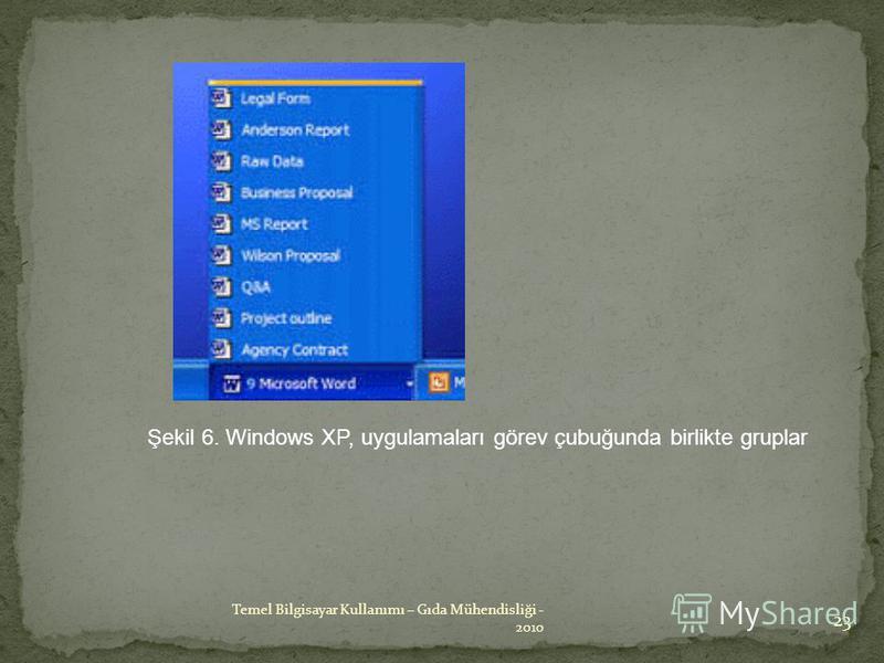 Şekil 6. Windows XP, uygulamaları görev çubuğunda birlikte gruplar 23 Temel Bilgisayar Kullanımı – Gıda Mühendisliği - 2010