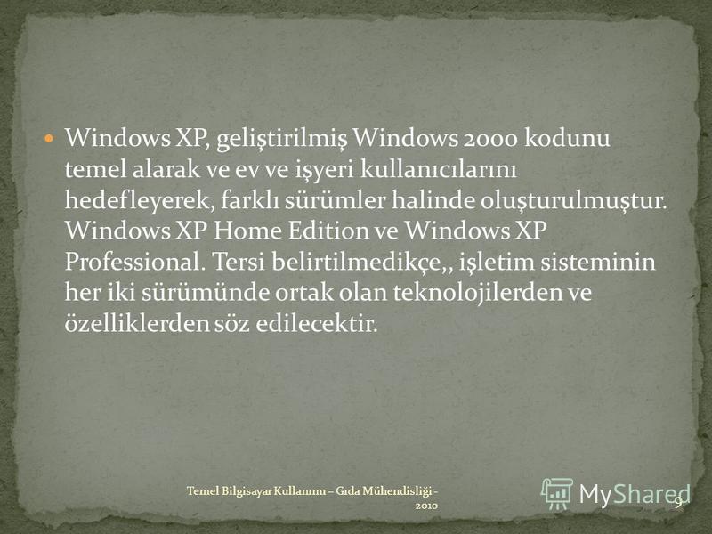 Windows XP, geliştirilmiş Windows 2000 kodunu temel alarak ve ev ve işyeri kullanıcılarını hedefleyerek, farklı sürümler halinde oluşturulmuştur. Windows XP Home Edition ve Windows XP Professional. Tersi belirtilmedikçe,, işletim sisteminin her iki s