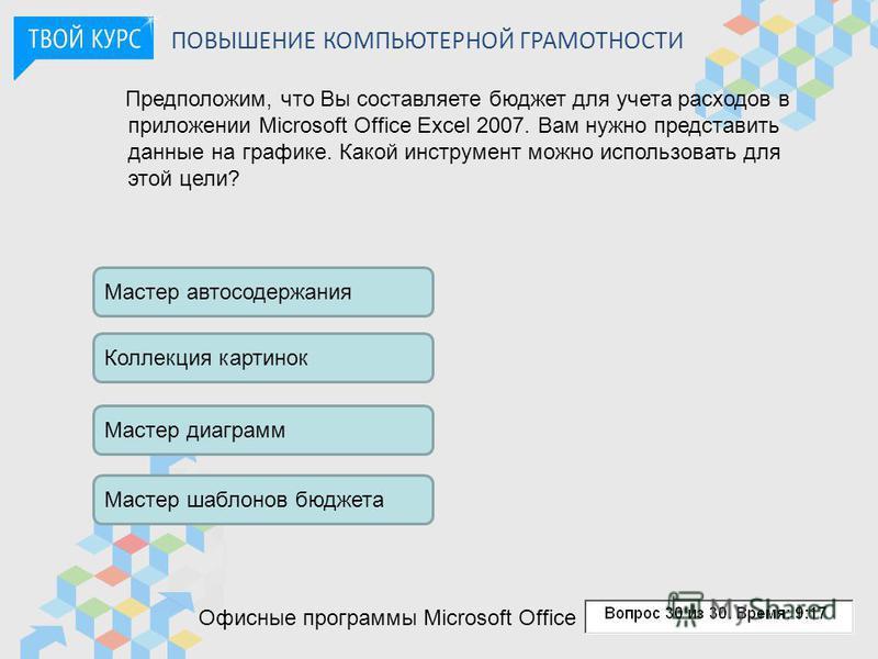 ПОВЫШЕНИЕ КОМПЬЮТЕРНОЙ ГРАМОТНОСТИ Предположим, что Вы составляете бюджет для учета расходов в приложении Microsoft Office Excel 2007. Вам нужно представить данные на графике. Какой инструмент можно использовать для этой цели? Мастер автосодержания К