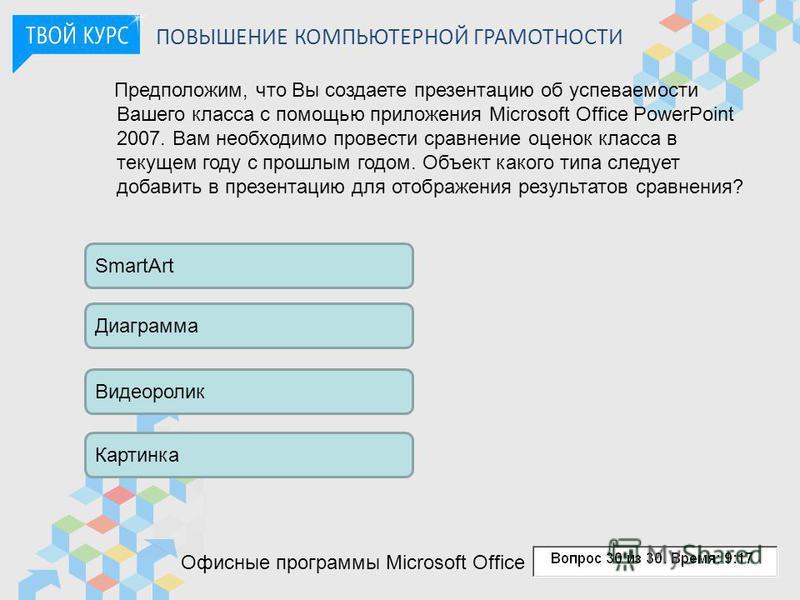 ПОВЫШЕНИЕ КОМПЬЮТЕРНОЙ ГРАМОТНОСТИ Предположим, что Вы создаете презентацию об успеваемости Вашего класса с помощью приложения Microsoft Office PowerPoint 2007. Вам необходимо провести сравнение оценок класса в текущем году с прошлым годом. Объект ка