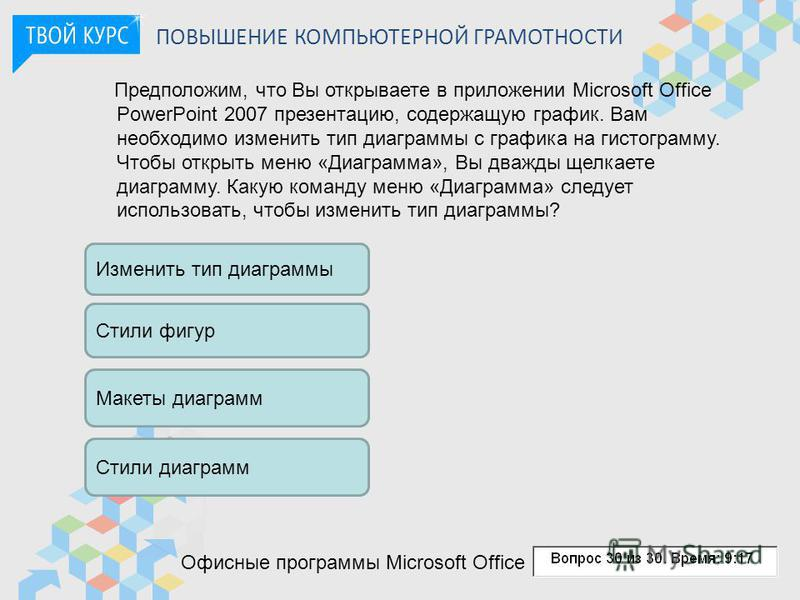 ПОВЫШЕНИЕ КОМПЬЮТЕРНОЙ ГРАМОТНОСТИ Предположим, что Вы открываете в приложении Microsoft Office PowerPoint 2007 презентацию, содержащую график. Вам необходимо изменить тип диаграммы с графика на гистограмму. Чтобы открыть меню «Диаграмма», Вы дважды
