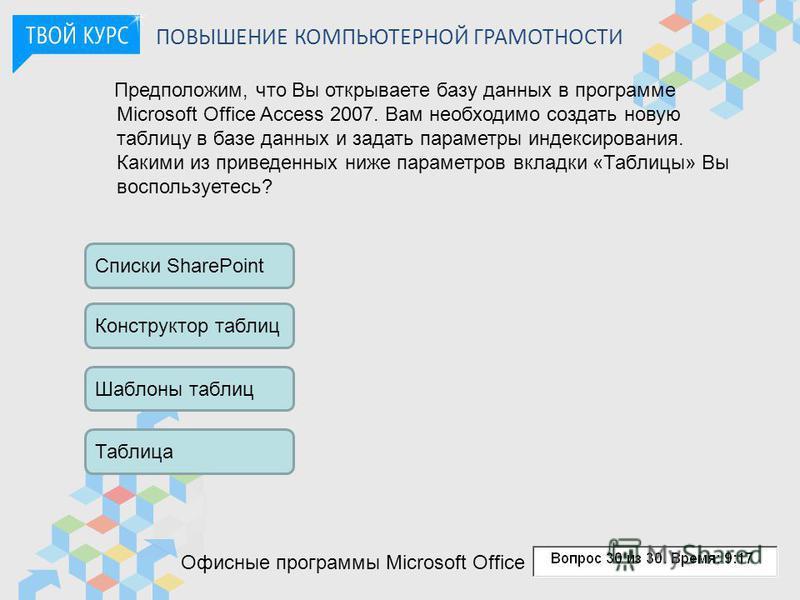 ПОВЫШЕНИЕ КОМПЬЮТЕРНОЙ ГРАМОТНОСТИ Офисные программы Microsoft Office Предположим, что Вы открываете базу данных в программе Microsoft Office Access 2007. Вам необходимо создать новую таблицу в базе данных и задать параметры индексирования. Какими из