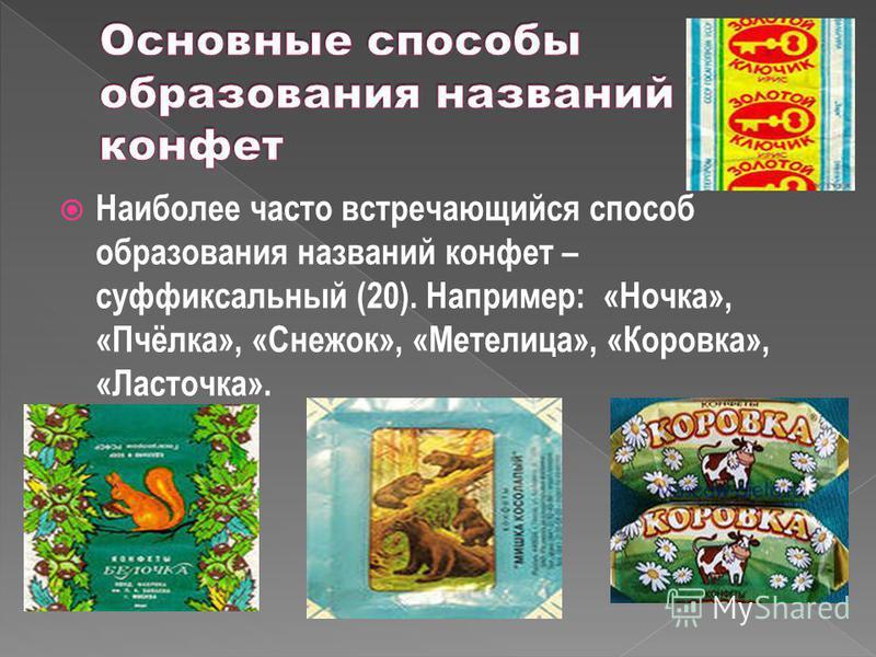 Наиболее часто встречающийся способ образования названий конфет – суффиксальный (20). Например: «Ночка», «Пчёлка», «Снежок», «Метелица», «Коровка», «Ласточка».
