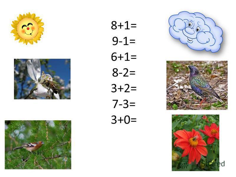 8+1= 9-1= 6+1= 8-2= 3+2= 7-3= 3+0=