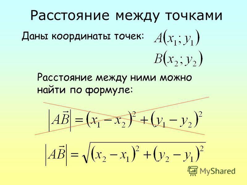 Расстояние между точками Даны координаты точек: Расстояние между ними можно найти по формуле: