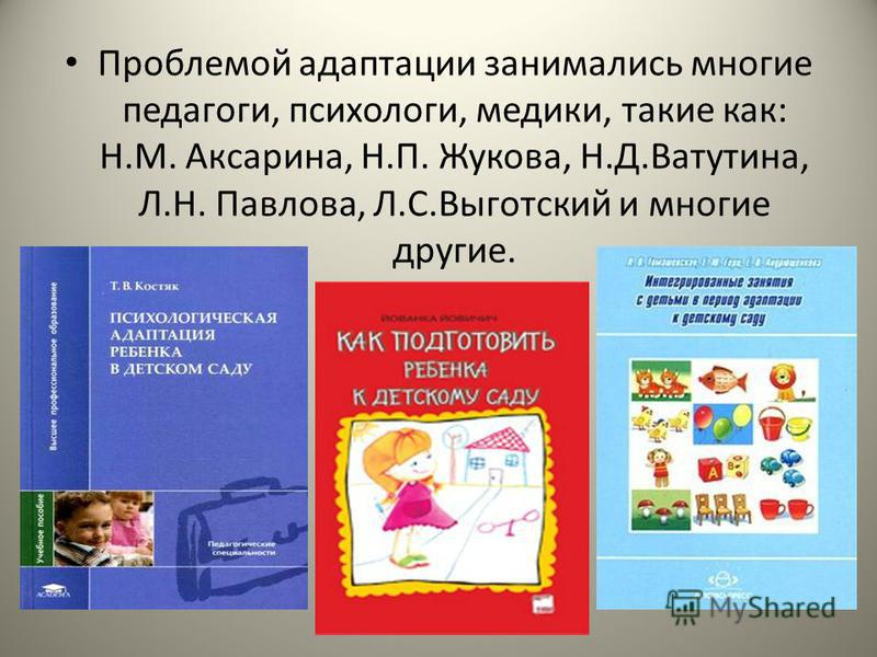 Проблемой адаптации занимались многие педагоги, психологи, медики, такие как: Н.М. Аксарина, Н.П. Жукова, Н.Д.Ватутина, Л.Н. Павлова, Л.С.Выготский и многие другие.