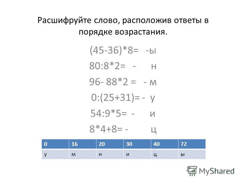 Расшифруйте слово, расположив ответы в порядке возрастания. (45-36)*8= -ы 80:8*2= - н 96- 88*2 = - м 0:(25+31)= - у 54:9*5= - и 8*4+8= - ц 01620304072 умницы