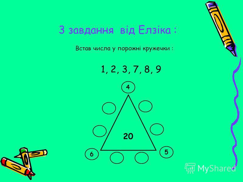 3 завдання від Елзіка : 1, 2, 3, 7, 8, 9 Встав числа у порожні кружечки : 20 6 4 5