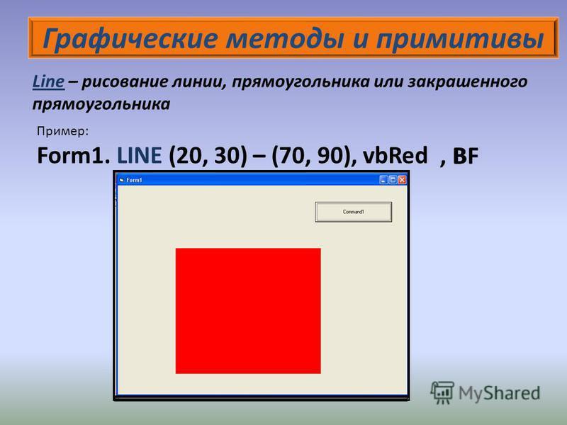 Графические методы и примитивы Line – рисование линии, прямоугольника или закрашенного прямоугольника Пример: Form1. LINE (20, 30) – (70, 90), vbRed, BBF