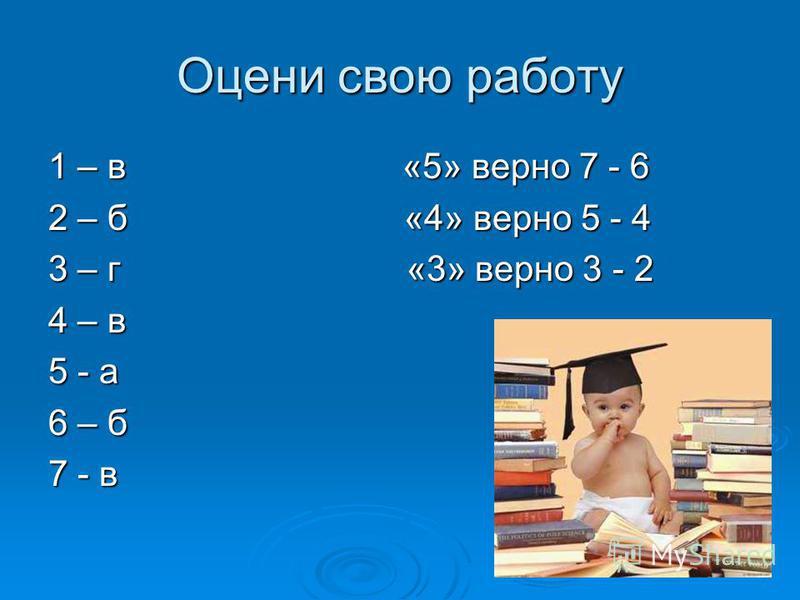 Оцени свою работу 1 – в «5» верно 7 - 6 2 – б «4» верно 5 - 4 3 – г «3» верно 3 - 2 4 – в 5 - а 6 – б 7 - в
