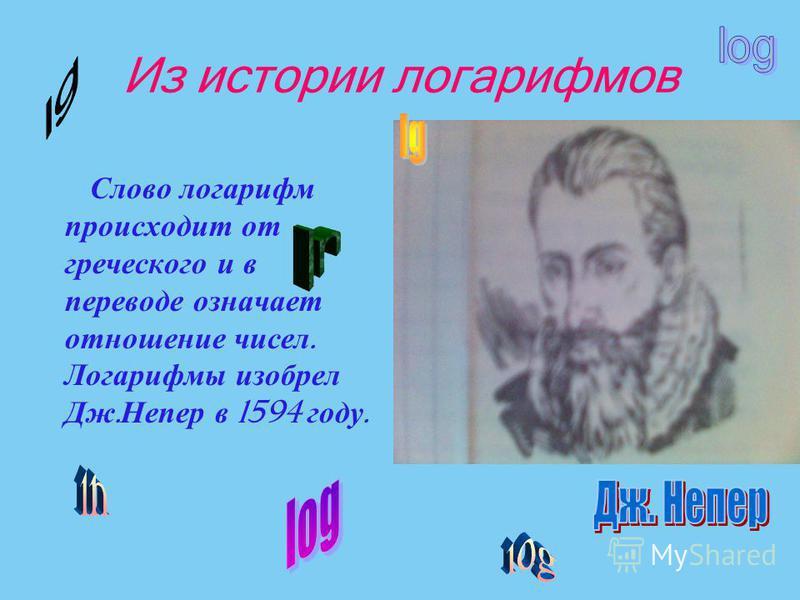 Из истории логарифмов Слово логарифм происходит от греческого и в переводе означает отношение чисел. Логарифмы изобрел Дж. Непер в 1594 году.