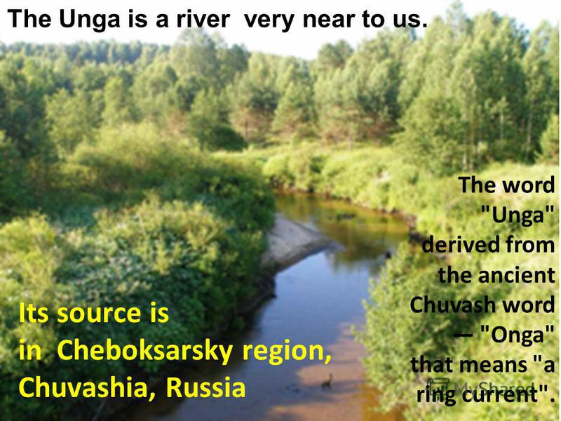 The Unga is a river very near to us. Its source is in Cheboksarsky region, Chuvashia, Russia The word Unga derived from the ancient Chuvash word Onga that means a ring current.