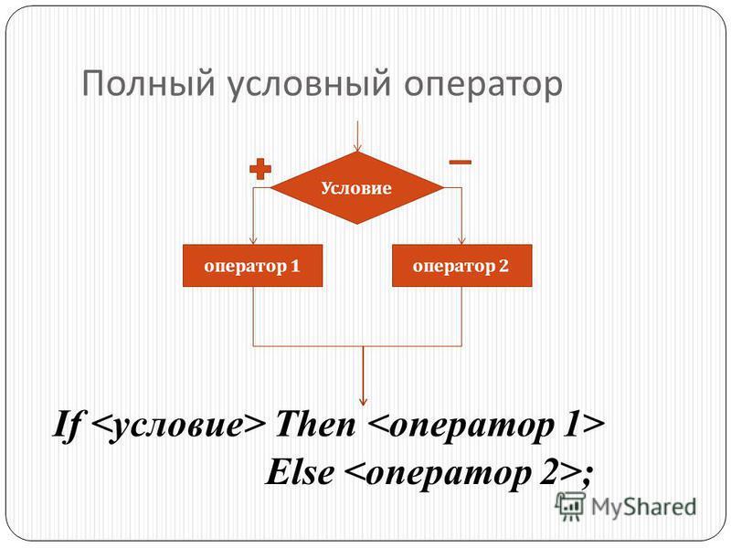 Полный условный оператор If Then Else ; Условие оператор 1 оператор 2