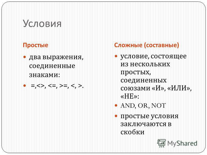 Условия Простые Сложные ( составные ) два выражения, соединенные знаками : =,<>, =,. условие, состоящее из нескольких простых, соединенных союзами « И », « ИЛИ », « НЕ »: AND, OR, NOT простые условия заключаются в скобки