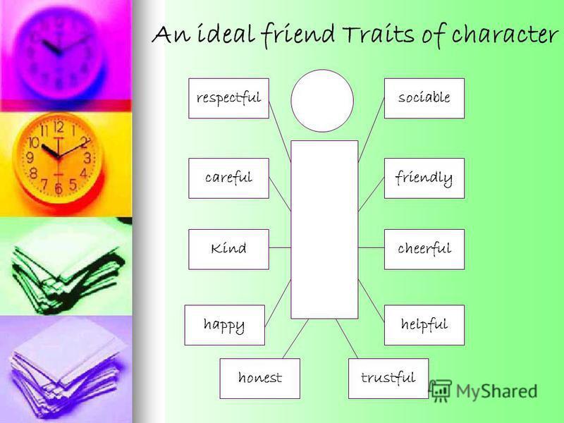sociable friendly cheerfulKind careful happyhelpful trustful respectful honest An ideal friend Traits of character