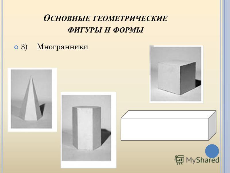 О СНОВНЫЕ ГЕОМЕТРИЧЕСКИЕ ФИГУРЫ И ФОРМЫ 3)Многранники