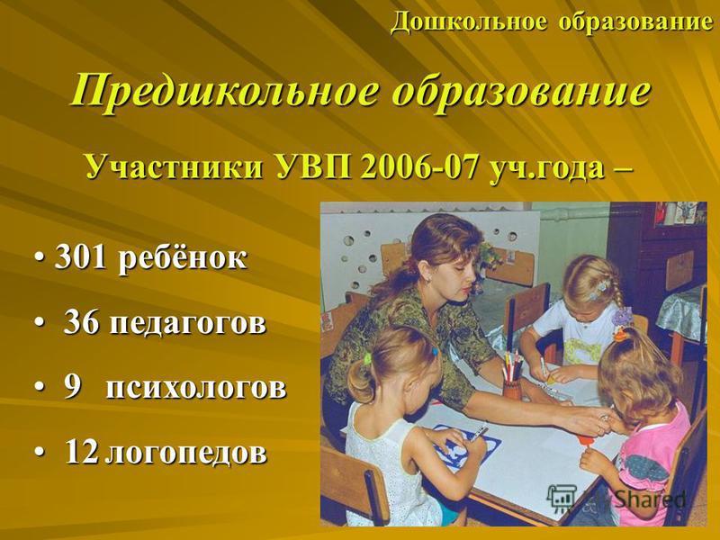 Дошкольное образование Предшкольное образование Участники УВП 2006-07 уч.года – 301 ребёнок 301 ребёнок 36 педагогов 36 педагогов 9 психологов 9 психологов 12 логопедов 12 логопедов