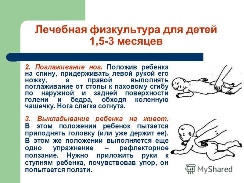 Лечебная физкультура для детей 1,5-3 месяцев 2. Поглаживание ног. Положив ребенка на спину, придерживать левой рукой его ножку, а правой выполнять поглаживание от стопы к паховому сгибу по наружной и задней поверхности голени и бедра, обходя коленную
