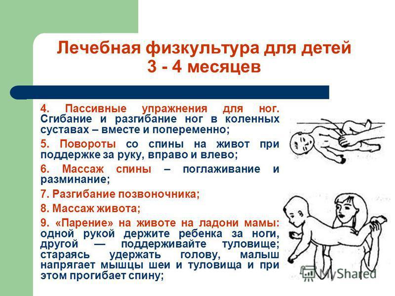 Лечебная физкультура для детей 3 - 4 месяцев 4. Пассивные упражнения для ног. Сгибание и разгибание ног в коленных суставах – вместе и попеременно; 5. Повороты со спины на живот при поддержке за руку, вправо и влево; 6. Массаж спины – поглаживание и