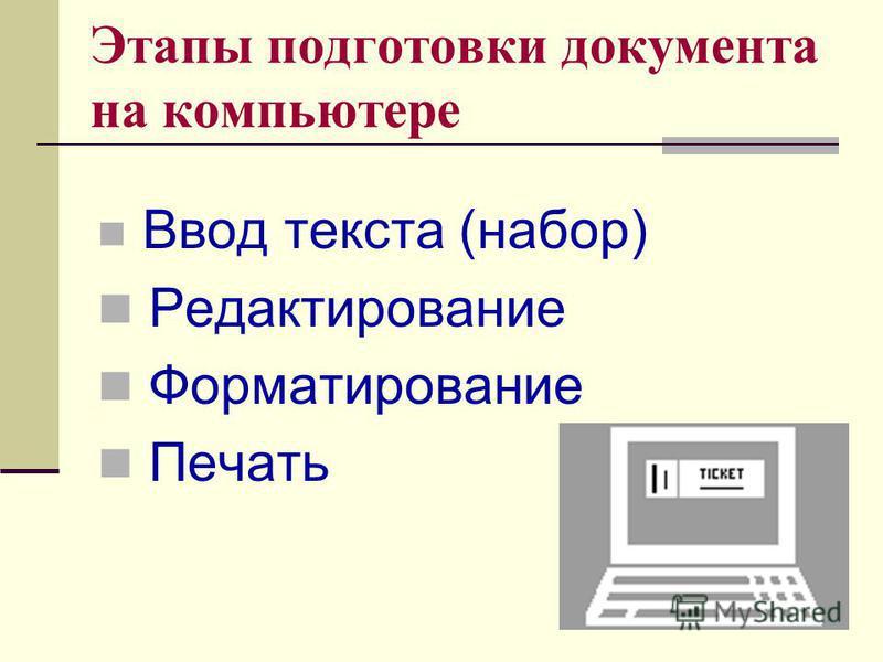 Этапы подготовки документа на компьютере Ввод текста (набор) Редактирование Форматирование Печать