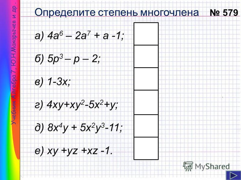 Определите степень многочлена а) 4 а 6 – 2 а 7 + а -1; б) 5 р 3 – р – 2; в) 1-3 х; г) 4 ку+ку 2 -5 х 2 +у; д) 8 х 4 у + 5 х 2 у 3 -11; е) ку +уz +xz -1. Учебник Алгебра 7, Ю.Н.Макарычев и др. 579 7 1 3 5 2 3