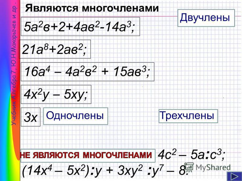 4 с 2 – 5 а : с 3 ; (14x 4 – 5x 2 ) : у + 3 ку 2 : у 7 – 8. Учебник Алгебра 7, Ю.Н.Макарычев и др. 21 а 8 +2 ав 2 ; 16 а 4 – 4 а 2 в 2 + 15 ав 3 ; 4 х 2 у – 5 ку; 5 а 2 в+2+4 ав 2 -14 а 3 ; 3 х Двучлены Трехчлены Одночлены Являются многочленами