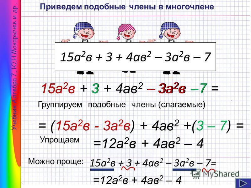 Учебник Алгебра 7, Ю.Н.Макарычев и др. 15 а 2 в + 3 + 4 ав 2 – 3 а 2 в – 7 =12 а 2 в + 4 ав 2 – 4 15 а 2 в + 3 + 4 ав 2 – 3 а 2 в - 7 = = (15 а 2 в - 3 а 2 в) + 4 ав 2 +(3 – 7) = 15 а 2 в 3–3 а 2 в–7 Группируем подобные члены (слагаемые) Упрощаем Мож