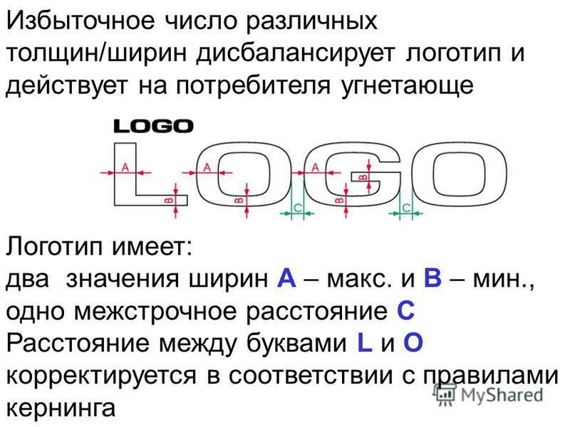 Избыточное число различных толщин/ширин дисбалансирует логотип и действует на потребителя угнетающе Логотип имеет: два значения ширин A – макс. и B – мин., одно межстрочное расстояние С Расстояние между буквами L и O корректируется в соответствии с п