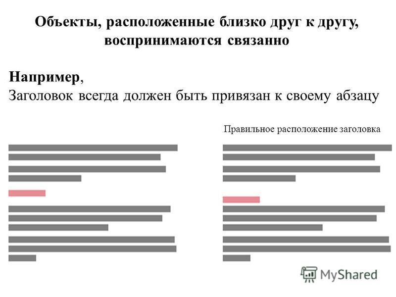 Объекты, расположенные близко друг к другу, воспринимаются связанно Например, Заголовок всегда должен быть привязан к своему абзацу Правильное расположение заголовка