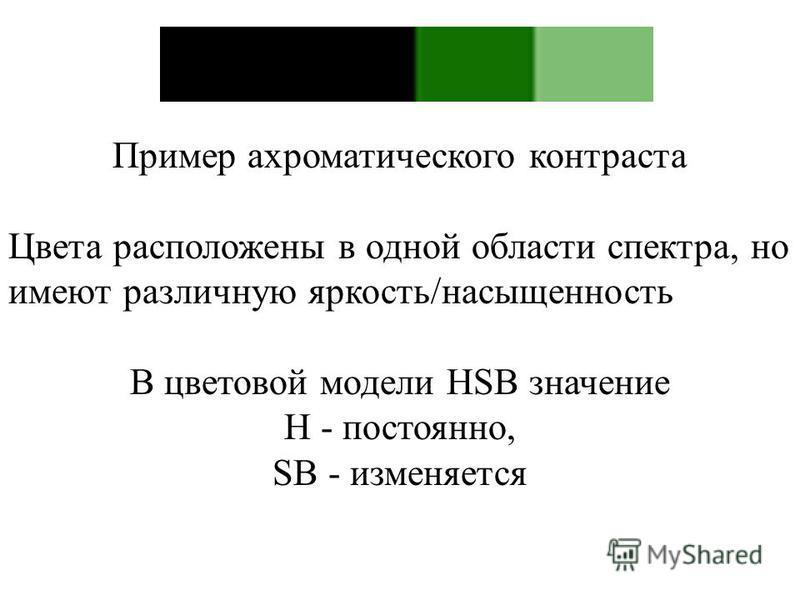 Пример ахроматического контраста Цвета расположены в одной области спектра, но имеют различную яркость/насыщенность В цветовой модели HSB значение H - постоянно, SB - изменяется