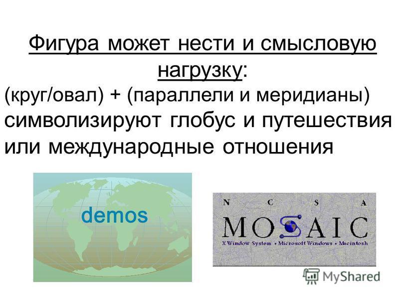 Фигура может нести и смысловую нагрузку: (круг/овал) + (параллели и меридианы) символизируют глобус и путешествия или международные отношения demos