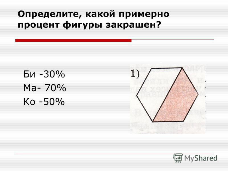 Определите, какой примерно процент фигуры закрашен? Би -30% Ма- 70% Ко -50%