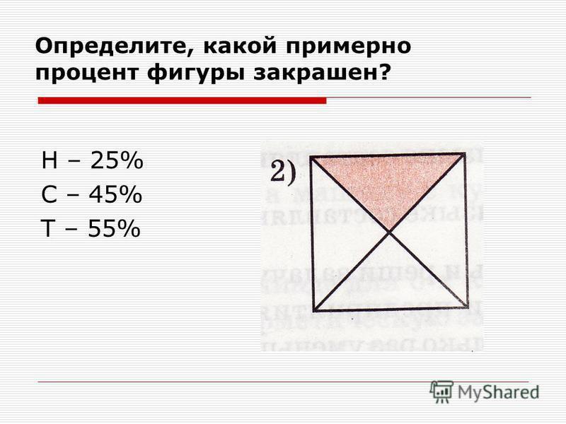 Определите, какой примерно процент фигуры закрашен? Н – 25% С – 45% Т – 55%