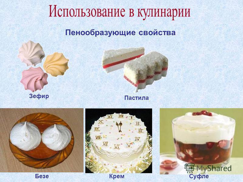 Пенообразующие свойства Безе КремСуфле Зефир Пастила