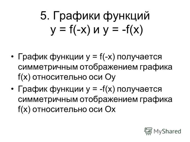 5. Графики функций y = f(-x) и у = -f(х) График функции y = f(-x) получается симметричным отображением графика f(x) относительно оси Оу График функции у = -f(х) получается симметричным отображением графика f(х) относительно оси Ох